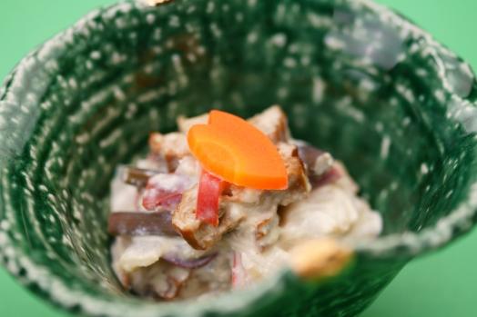 【先附】根芋(芽芋)の白和えです。食感をお楽しみ下さい。