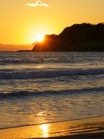 由比ヶ浜の夕日